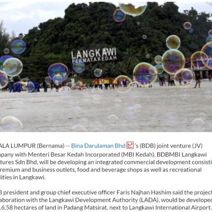 BDB-MBI Kedah JV to develop Langkawi Premium Outlets   THE STAR   21/9/2021