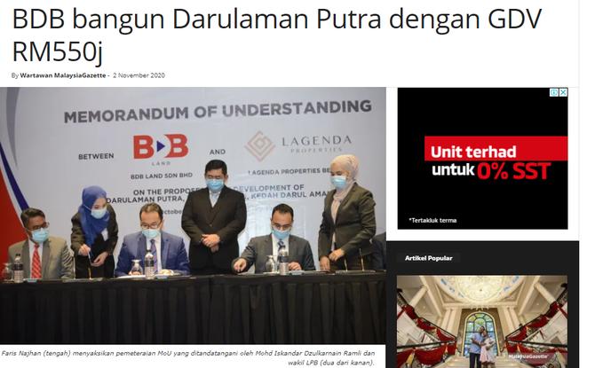 BDB bangun Darulaman Putra dengan GDV RM550j | MALAYSIA GAZETTE | 2 NOVEMBER 2020