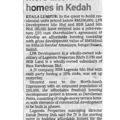 More affordable homes in Kedah | THE STAR | 7 APRIL 2021