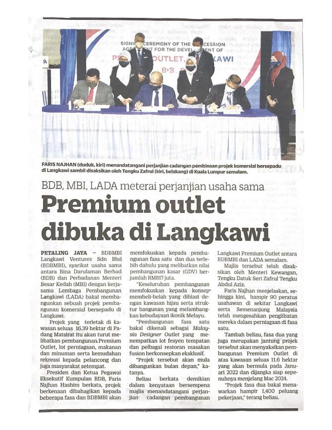 Premium outlet dibuka di Langkawi | KOSMO! | 22/9/2021