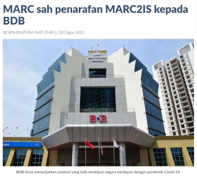 MARC sah penarafan MARC2IS kepada BDB | SINAR HARIAN | 30 OGOS 2021