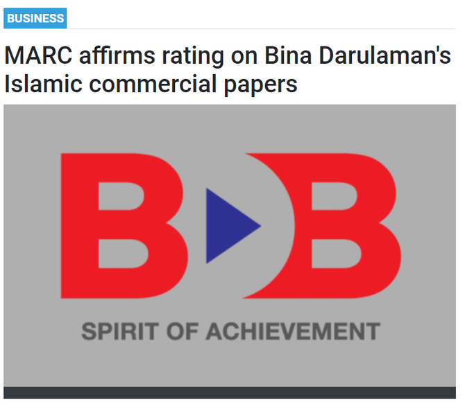 MARC affirms rating on Bina Darulaman's Islamic commercial paper   BERNAMA   30 AUGUST 2021