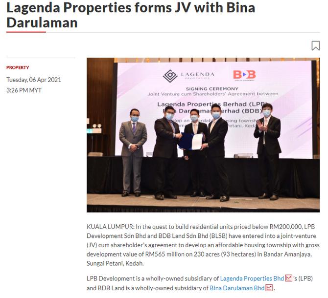 Lagenda Properties forms JV with Bina Darulaman | THE STAR | 6 APRIL 2021