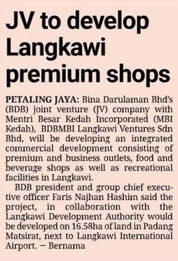 JV to develop Langkawi premium shops   THE STAR   22/9/2021
