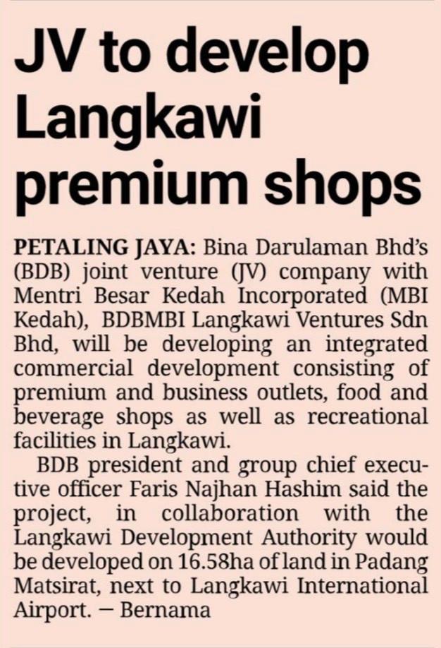 JV to develop Langkawi premium shops | THE STAR | 22/9/2021