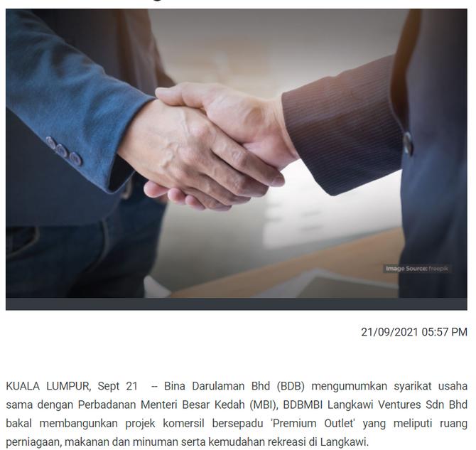 BDBMBI bangunkan projek 'Premium Outlet' di Langkawi   BERNAMA   21/9/2021
