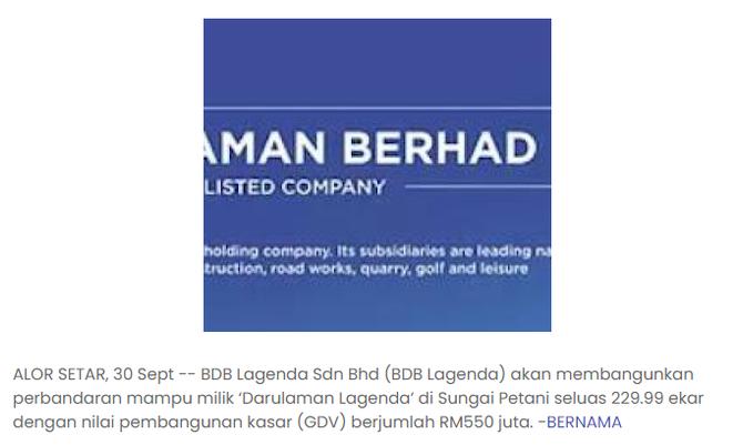 BDB akan bangunkan perbandaran mampu milik 'Darulaman Lagenda'   MALAYSIA SEJAHTERA   3/9/2021