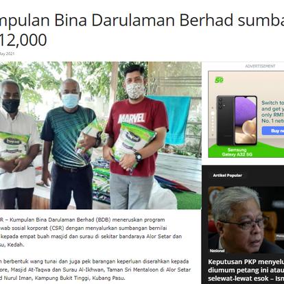 Kumpulan Bina Darulaman Berhad sumbang RM12,000 | MALAYSIA GAZETTE | 6 MEI 2021