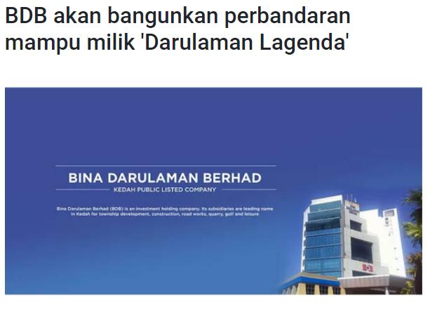 BDB akan bangunkan perbandaran mampu milik 'Darulaman Lagenda' | BERNAMA | 30/9/2021