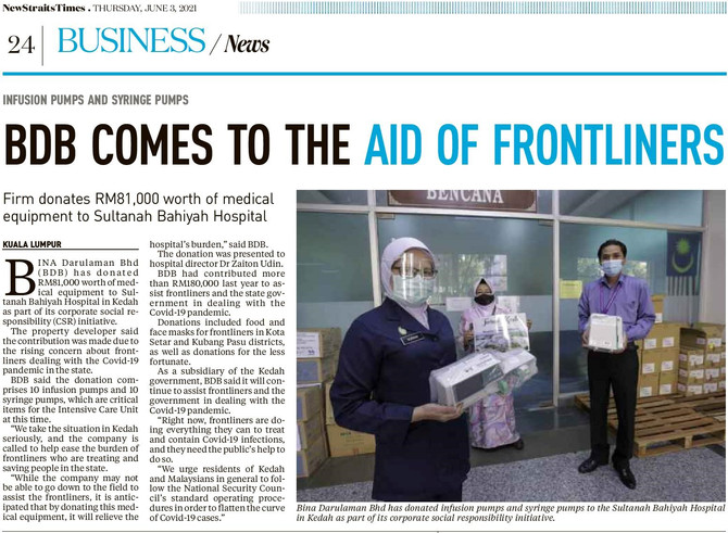BDB comes to the aid of Frontliners | NEW STRAITS TIMES | 3 JUN 2021