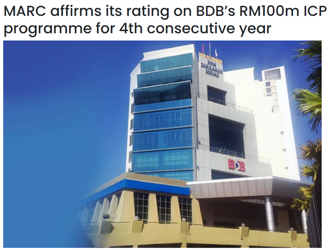 MARC affirms its rating on BDB's RM100m ICP programme for 4th consecutive year