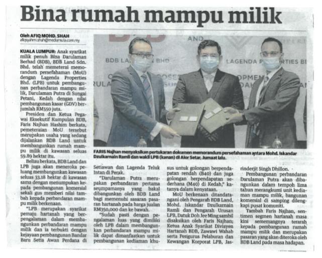 BINA RUMAH MAMPU MILIK | Utusan Malaysia | 3 November 2020