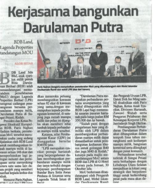 KERJASAMA BANGUNKAN DARULAMAN PUTRA | Sinar Harian | 3 November 2020