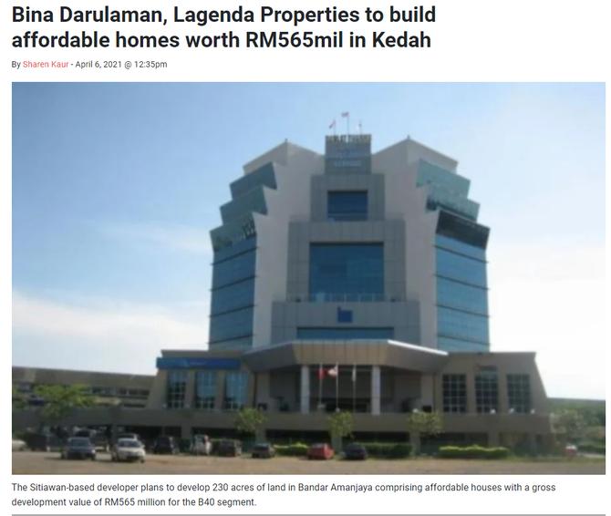 Bina Darulaman, Lagenda Properties to build affordable homes worth RM565mil in Kedah