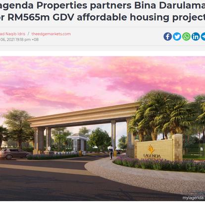 Lagenda Properties partners Bina Darulaman for RM565m GDV affordable housing project