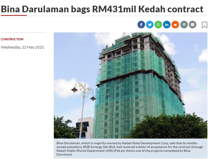 Bina Darulaman bags RM431mil Kedah contract | THE STAR | 12 MAY 2021