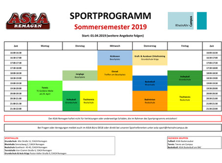 Sportprogramm Sommersemester 2019