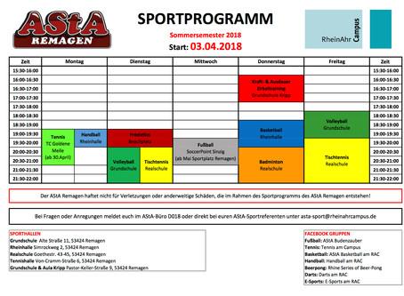 Unser Sportprogramm für's Sommersemester!