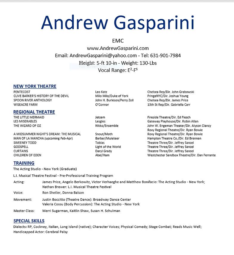 Andrew Gasparini L Resume