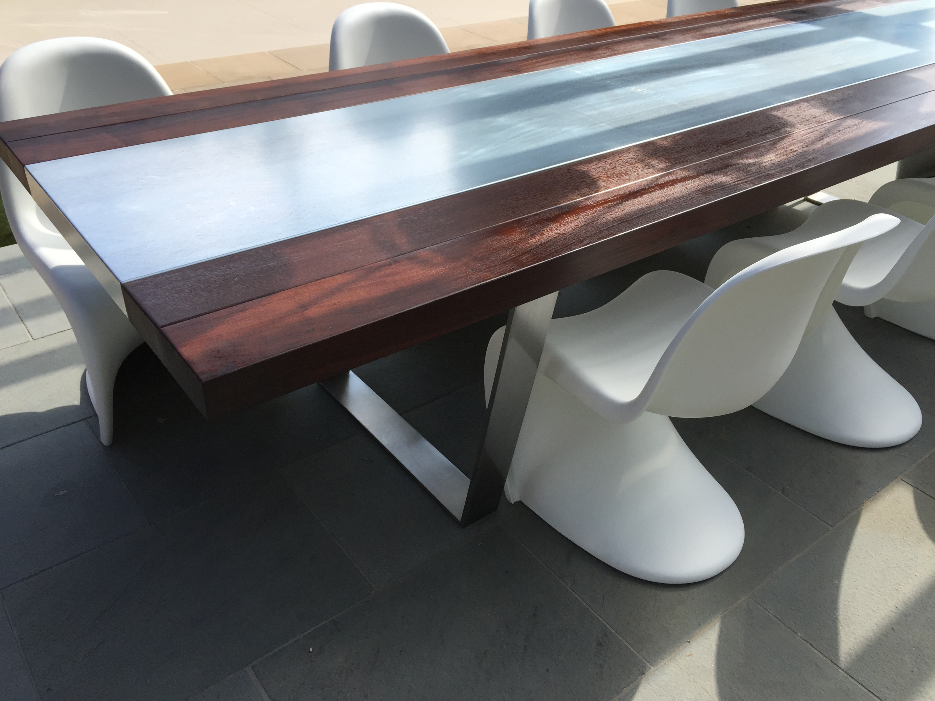 OUTDOOR GALVANIZED AND TEAK TABLE