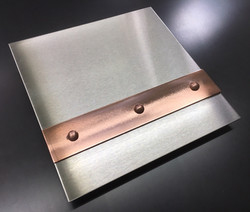 Brushed Stainless with Mirror Copper Banding