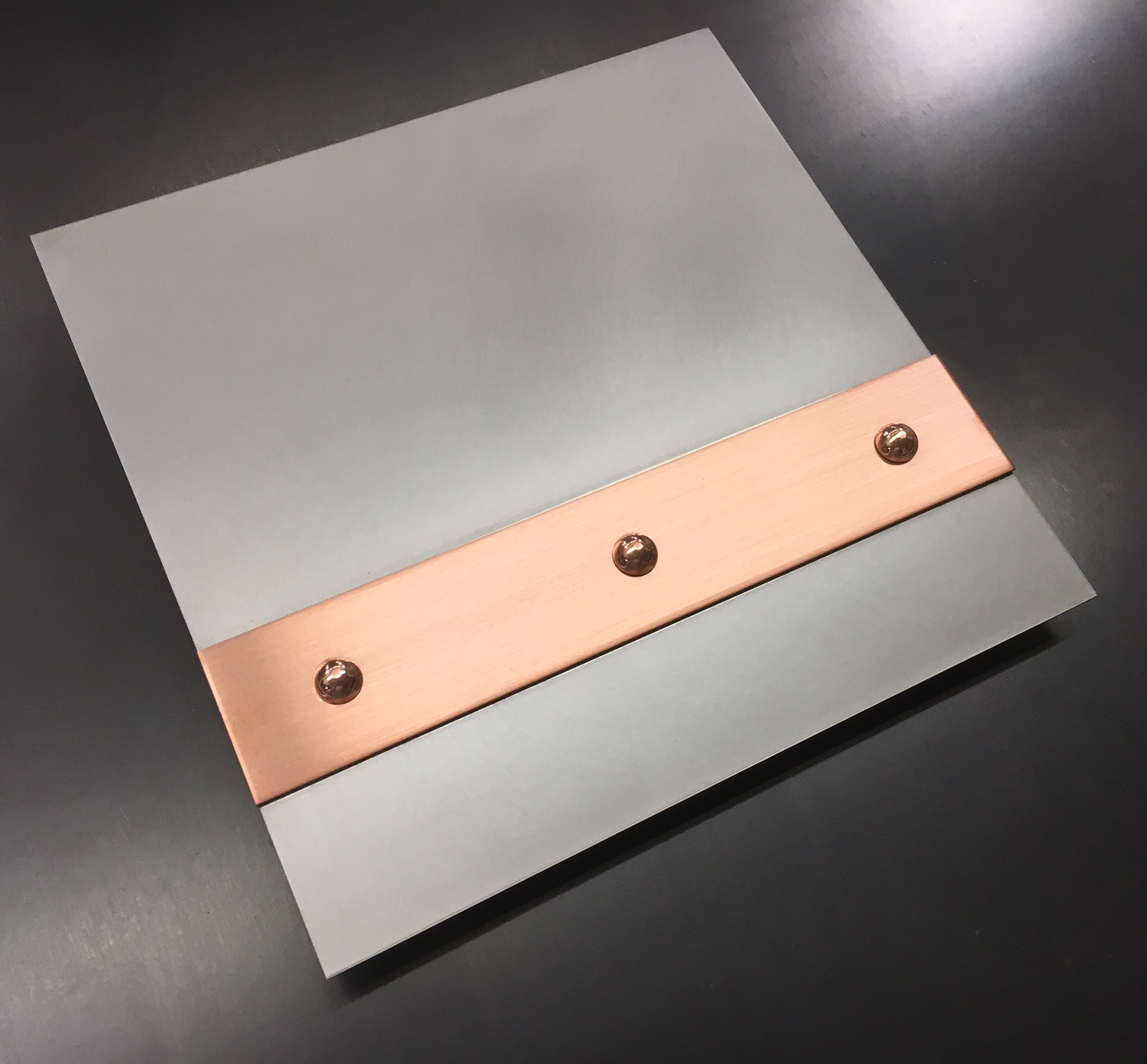Hand Honed Stainless Brushed Copper Banding