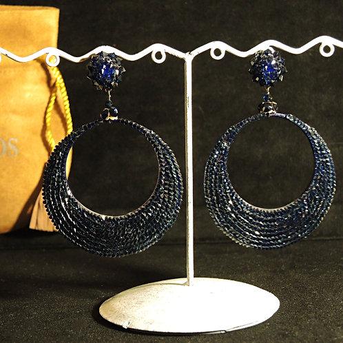 Dublos - Orecchini Mezzaluna Cristalli Swarovski Blu/Nero 8cm