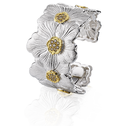 "BUCCELLATI Bracciale Gardenia ""Blossoms"" Medio con Diamanti Brown"