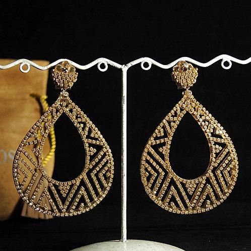 Dublos - Orecchini Goccia Vuota Cristalli Swarovski Oro 8cm