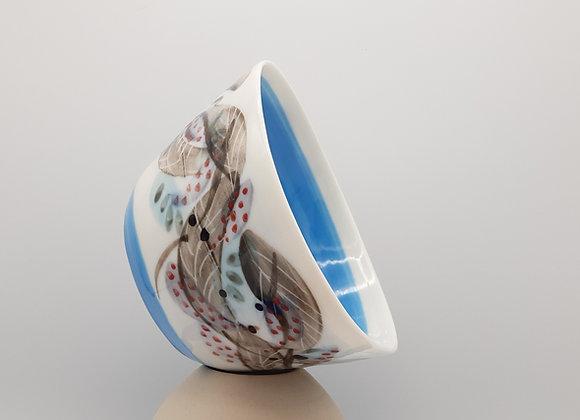 Petit bol, motif plume - intérieur et base bleus