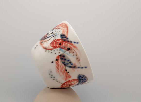 Medium Bowl, Feather Motif in Transparent Glaze