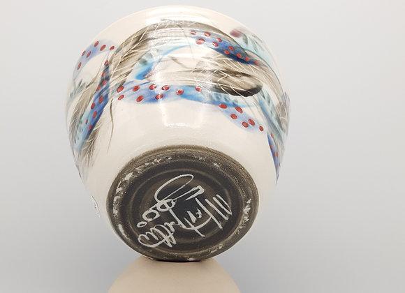 Medium Bowl, Feather Motif - Blue Interior & Earthen Base