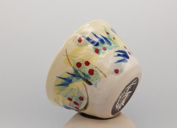 Petit bol, motif de plumes en émail transparent