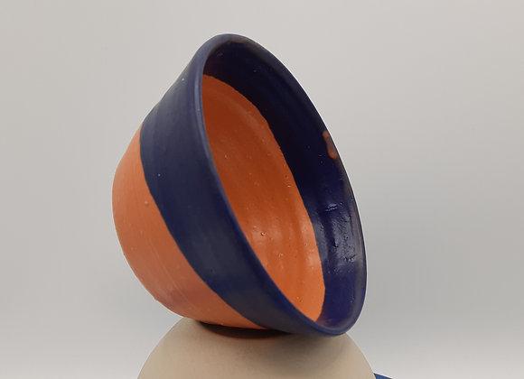 Petit bol, bleu foncé et clémentine - base en terre