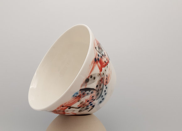 Medium Bowl, Feather Motif - Earthen Base