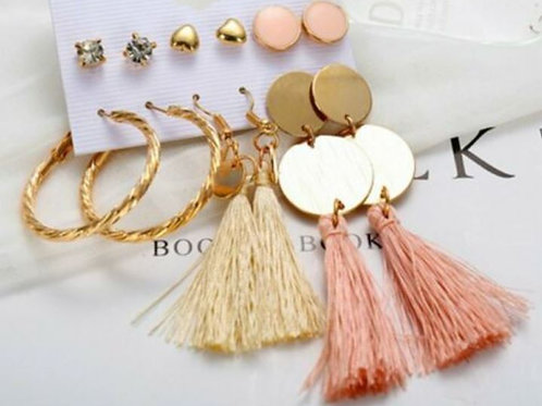Peach & Beige Studs and Tassels