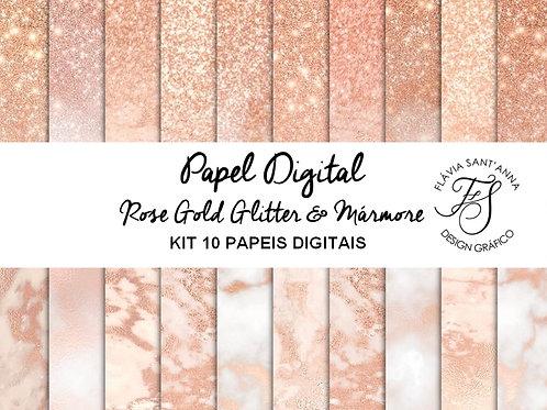 Kit Papel Digital Rose Gold Glitter e Mármore