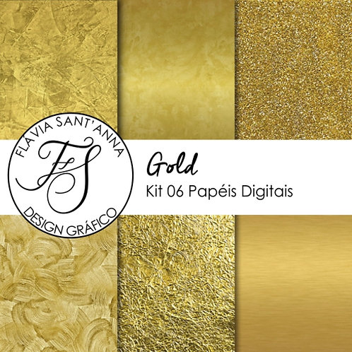 Kit Papel Digital Metalizado Gold
