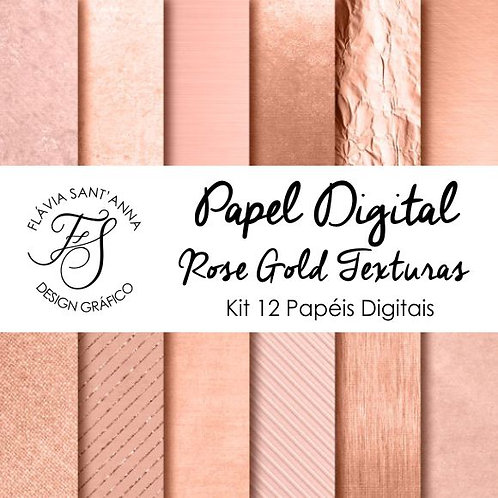 Kit Papel Digital Rose Gold Texturas