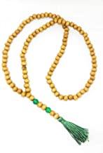 Japamala 108 Contas Madeira Com Detalhe Em Pedra Jade Verde
