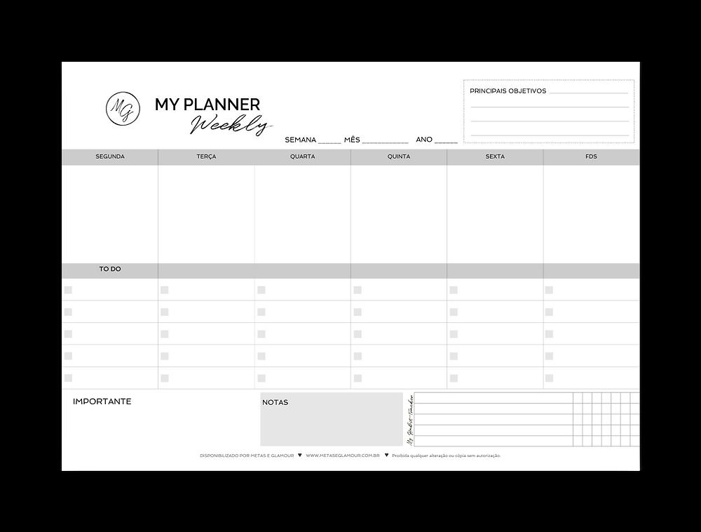 Planner Semanal para imprimir grátis