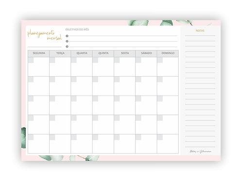 Planner Mensal para download folhagem rosa