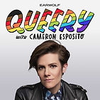 Cameron Esposito poses underneath the word Queery