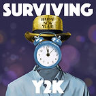 "A person with a clock over their face, and text ""Surviving Y2K"""