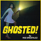 Roz stands in a dark stairway, looking scared and holding a flashlight.