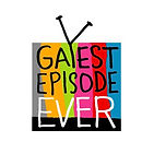 Gayest Episode Ever logo. A rainbow TV with the words Gayest Episode Ever inside.