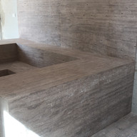 colocacao assento em travertino romano classico para sauna em Tambore 1