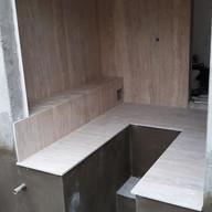 colocacao area sauna em travertino navona escovado