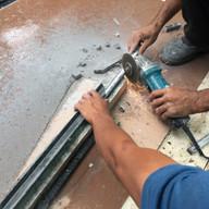 colcoacao de rodape decorativo de 2x2 cm em granito preto sao gabriel