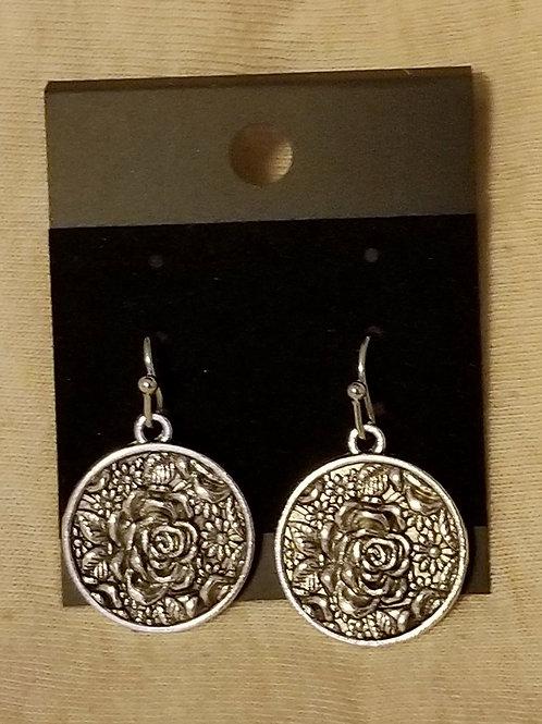 Silvertone Rose Relief Earings